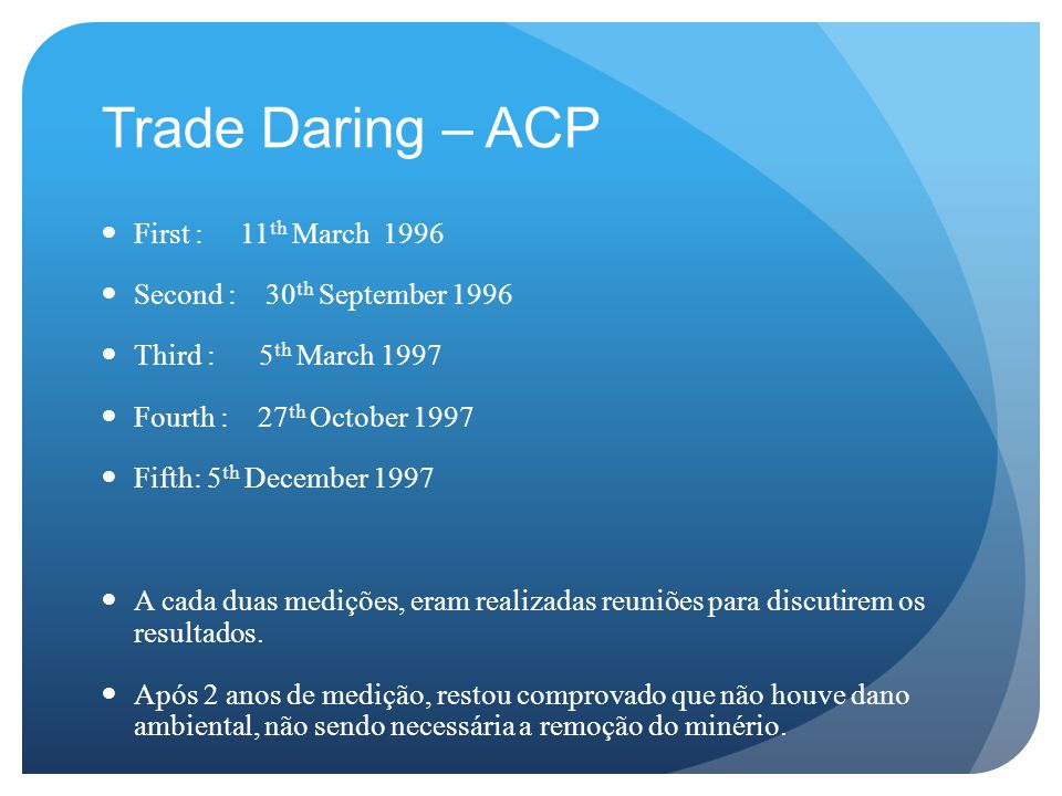Trade Daring – ACP First : 11 th March 1996 Second : 30 th September 1996 Third : 5 th March 1997 Fourth : 27 th October 1997 Fifth:5 th December 1997