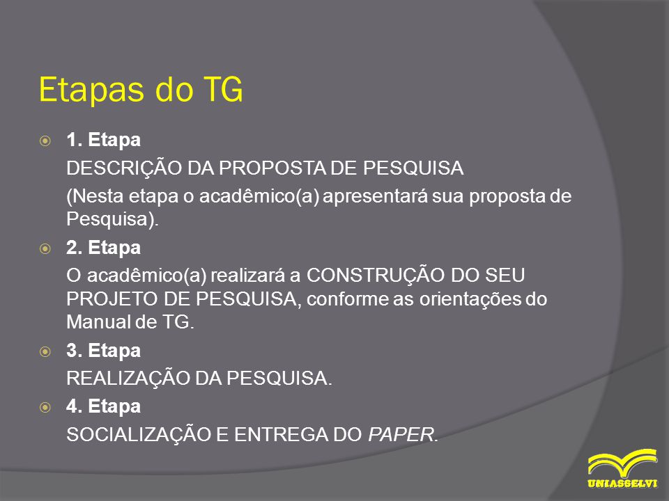 Etapas do TG  1.