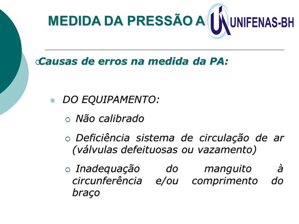 MEDIDA DA PRESSÃO ARTERIAL  Causas de erros na medida da PA: DO EQUIPAMENTO: DO EQUIPAMENTO:  Não calibrado  Deficiência sistema de circulação de a