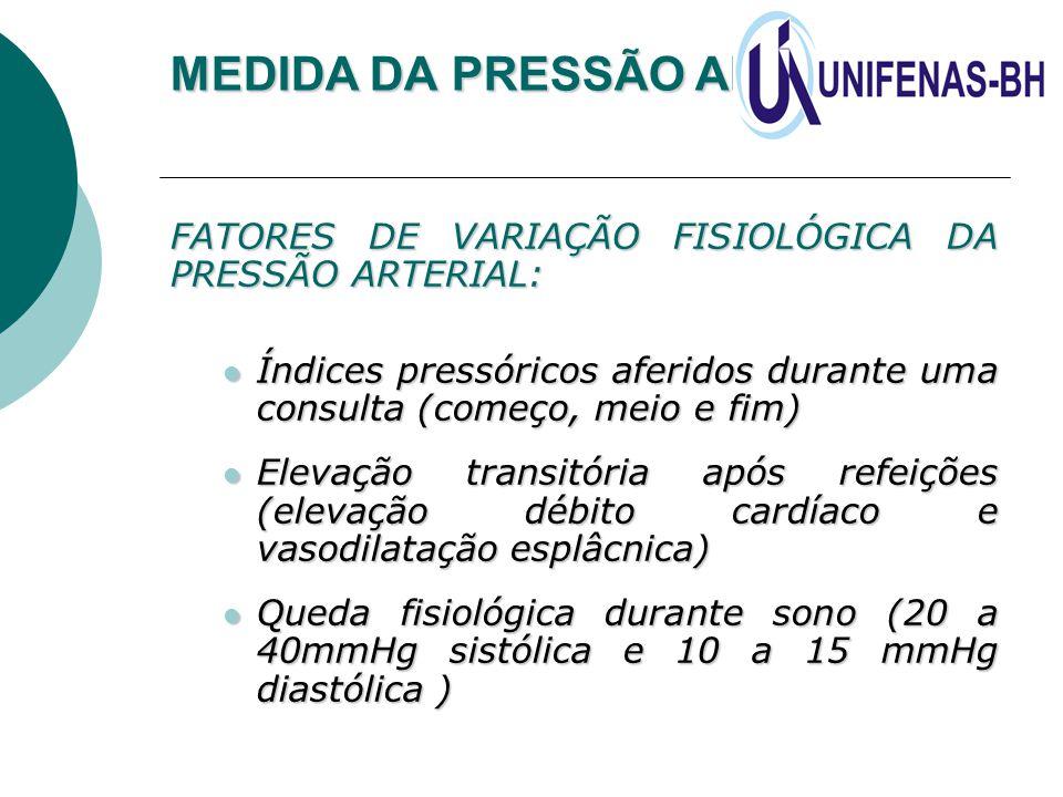 MEDIDA DA PRESSÃO ARTERIAL FATORES DE VARIAÇÃO FISIOLÓGICA DA PRESSÃO ARTERIAL: Índices pressóricos aferidos durante uma consulta (começo, meio e fim)