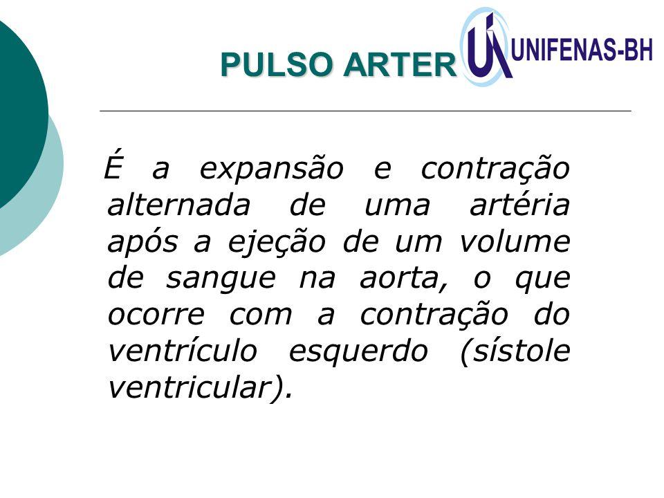 PULSO ARTERIAL É a expansão e contração alternada de uma artéria após a ejeção de um volume de sangue na aorta, o que ocorre com a contração do ventrí