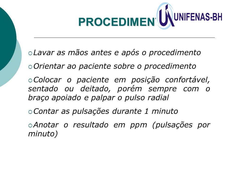 PROCEDIMENTO  Lavar as mãos antes e após o procedimento  Orientar ao paciente sobre o procedimento  Colocar o paciente em posição confortável, sent