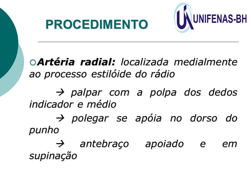  Artéria radial: localizada medialmente ao processo estilóide do rádio  palpar com a polpa dos dedos indicador e médio  polegar se apóia no dorso d