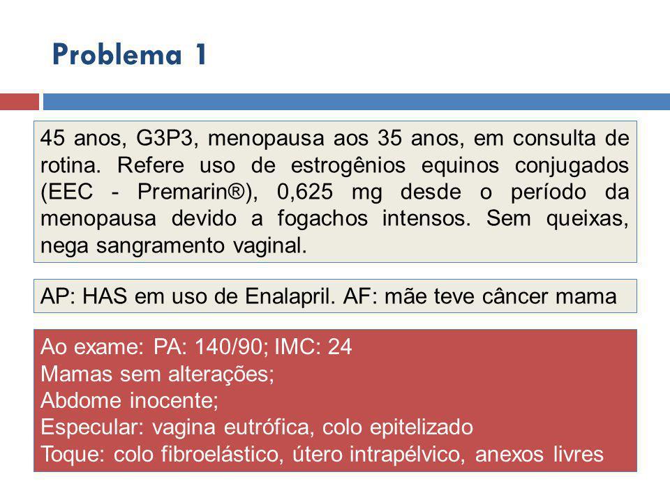 45 anos, G3P3, menopausa aos 35 anos, em consulta de rotina.
