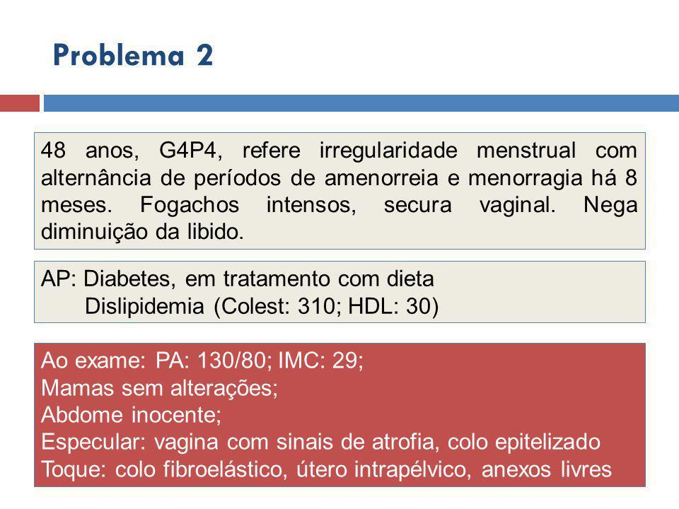 48 anos, G4P4, refere irregularidade menstrual com alternância de períodos de amenorreia e menorragia há 8 meses.