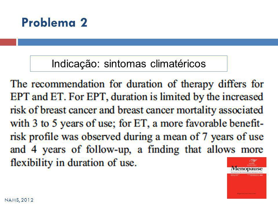 Problema 2 NAMS, 2012 Indicação: sintomas climatéricos