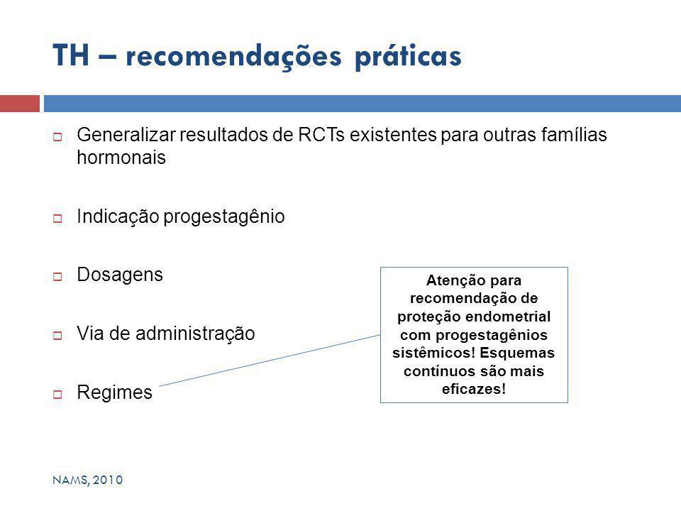  Generalizar resultados de RCTs existentes para outras famílias hormonais  Indicação progestagênio  Dosagens  Via de administração  Regimes TH – recomendações práticas Atenção para recomendação de proteção endometrial com progestagênios sistêmicos.