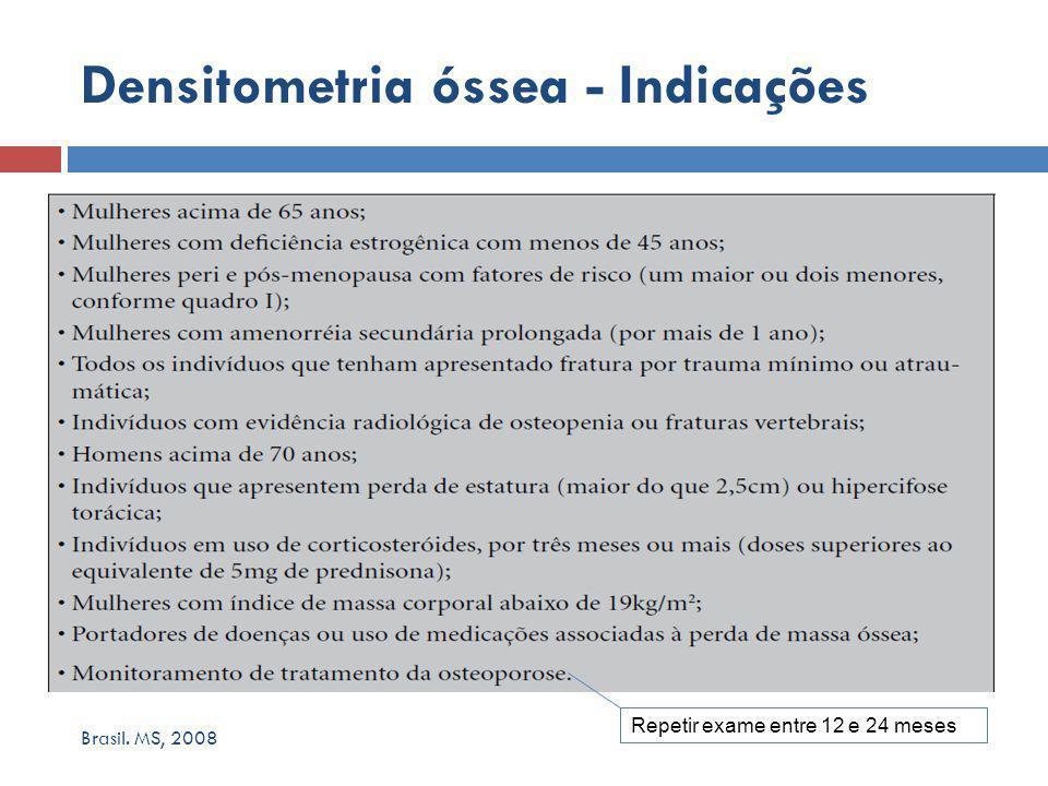 Brasil. MS, 2008 Densitometria óssea - Indicações Repetir exame entre 12 e 24 meses