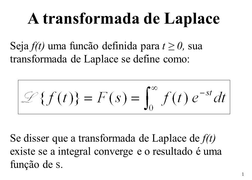 1 Seja f(t) uma funcão definida para t ≥ 0, sua transformada de Laplace se define como: Se disser que a transformada de Laplace de f(t) existe se a in