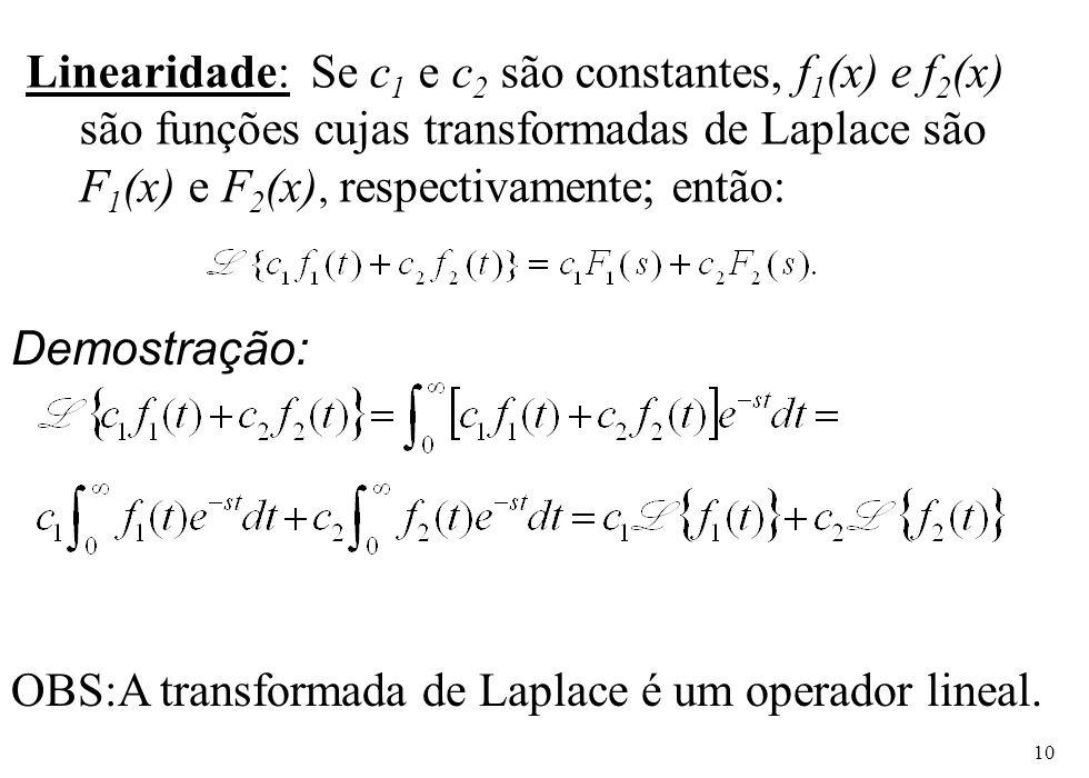 10 Linearidade: Se c 1 e c 2 são constantes, f 1 (x) e f 2 (x) são funções cujas transformadas de Laplace são F 1 (x) e F 2 (x), respectivamente; entã
