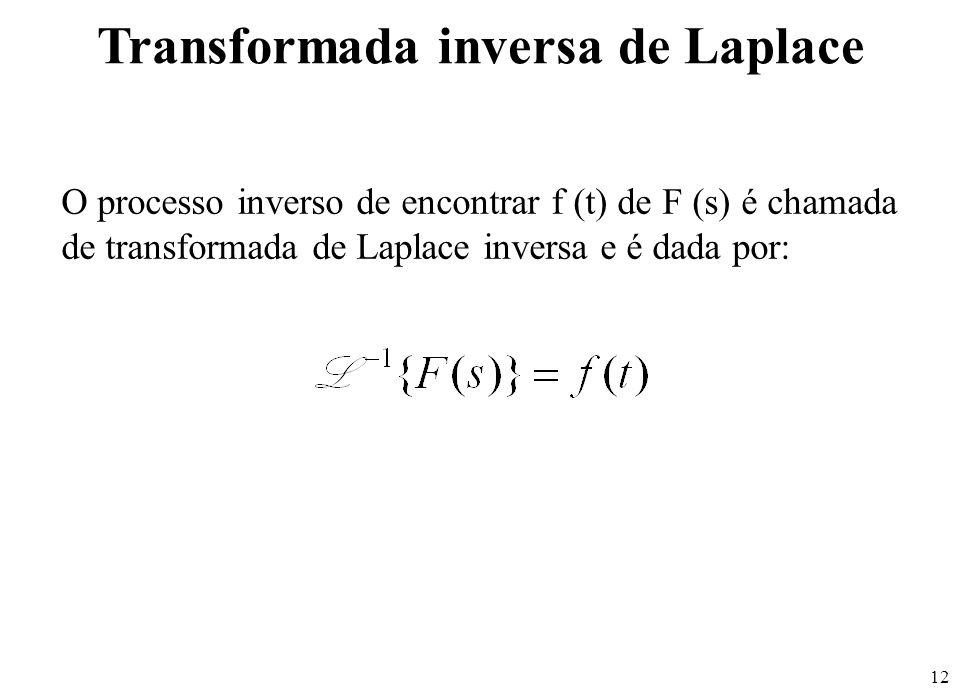 12 O processo inverso de encontrar f (t) de F (s) é chamada de transformada de Laplace inversa e é dada por: Transformada inversa de Laplace