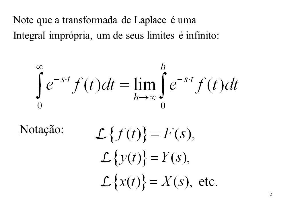 2 Note que a transformada de Laplace é uma Integral imprópria, um de seus limites é infinito: Notação: