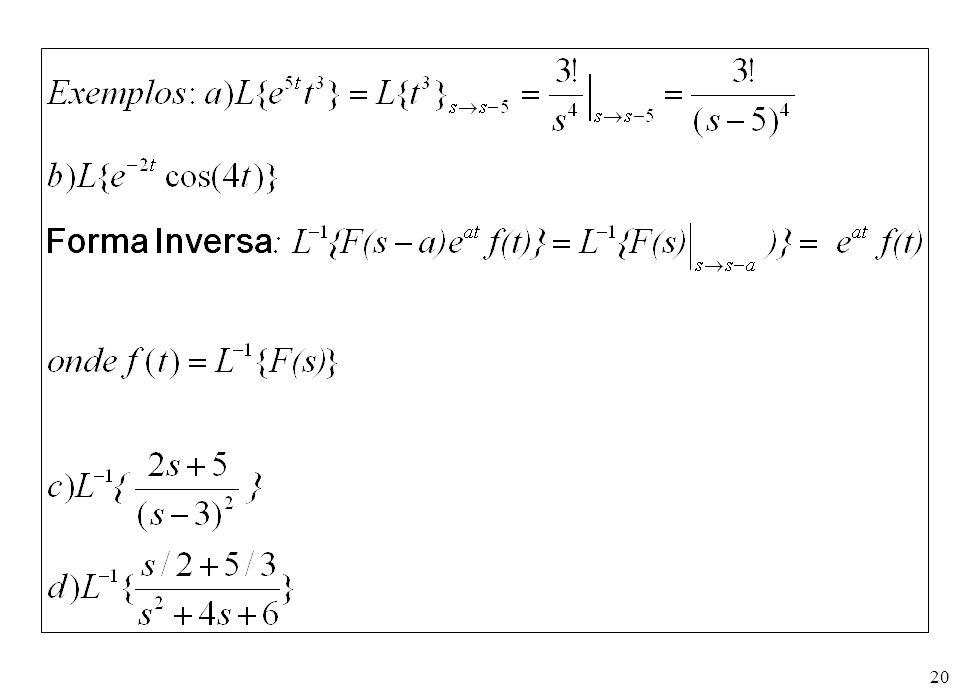 21 Ex e): Usando a transformada de Laplace, resolva a equação y – 6y'+9y = t 2 e 3t, y(0) = 2, y'(0) = 6.