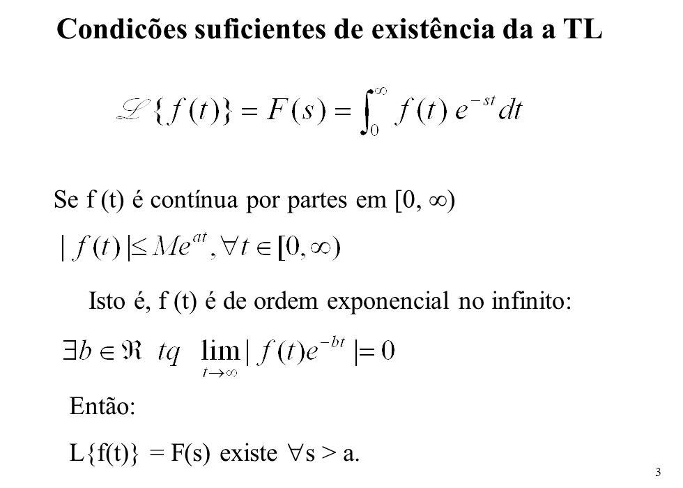 3 Condicões suficientes de existência da a TL Se f (t) é contínua por partes em [0, ∞) Isto é, f (t) é de ordem exponencial no infinito: Então: L{f(t)