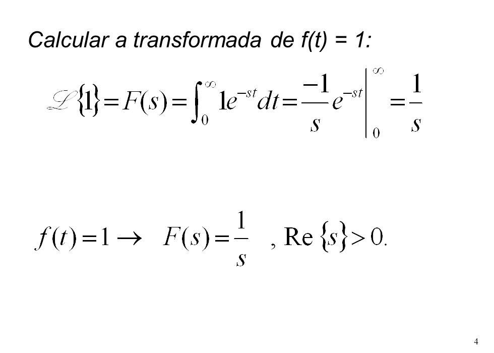 4 Calcular a transformada de f(t) = 1: