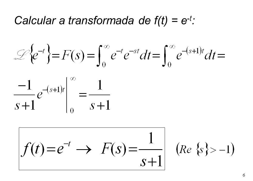 6 Calcular a transformada de f(t) = e -t :
