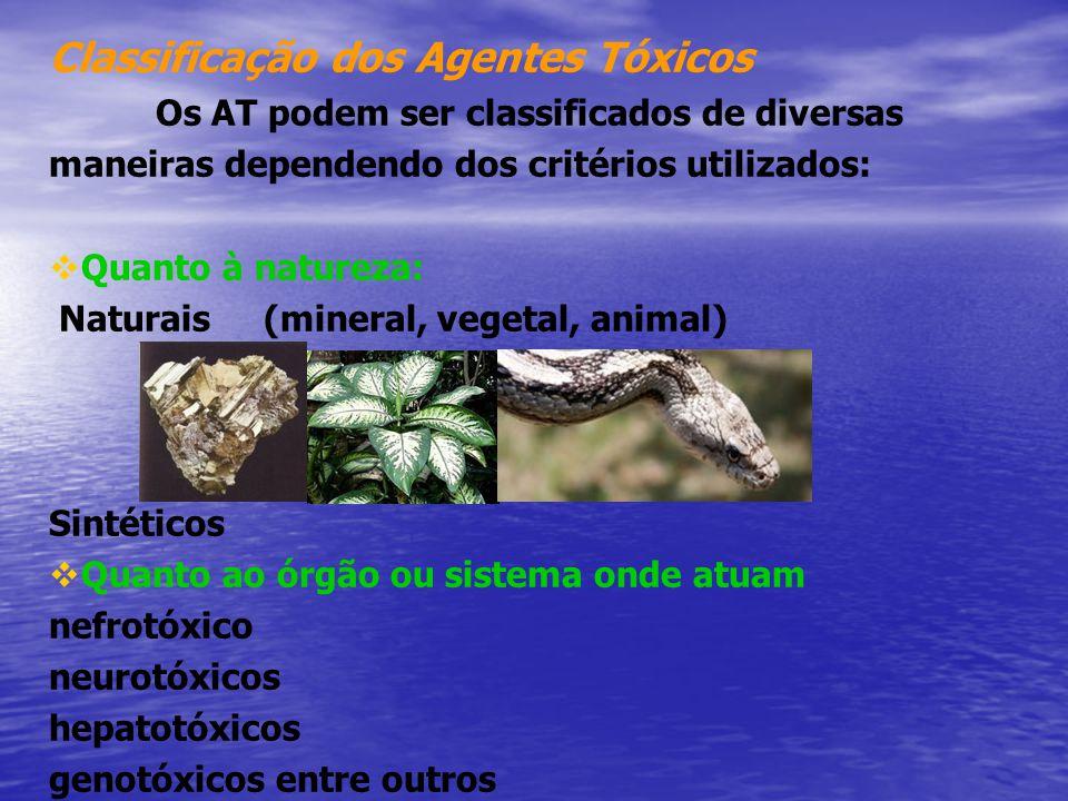 Classificação dos Agentes Tóxicos Os AT podem ser classificados de diversas maneiras dependendo dos critérios utilizados:  Quanto à natureza: Naturai