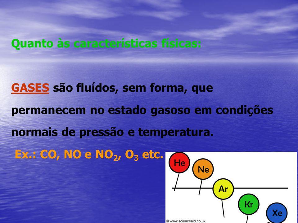 Quanto às características físicas: GASES são fluídos, sem forma, que permanecem no estado gasoso em condições normais de pressão e temperatura. Ex.: C