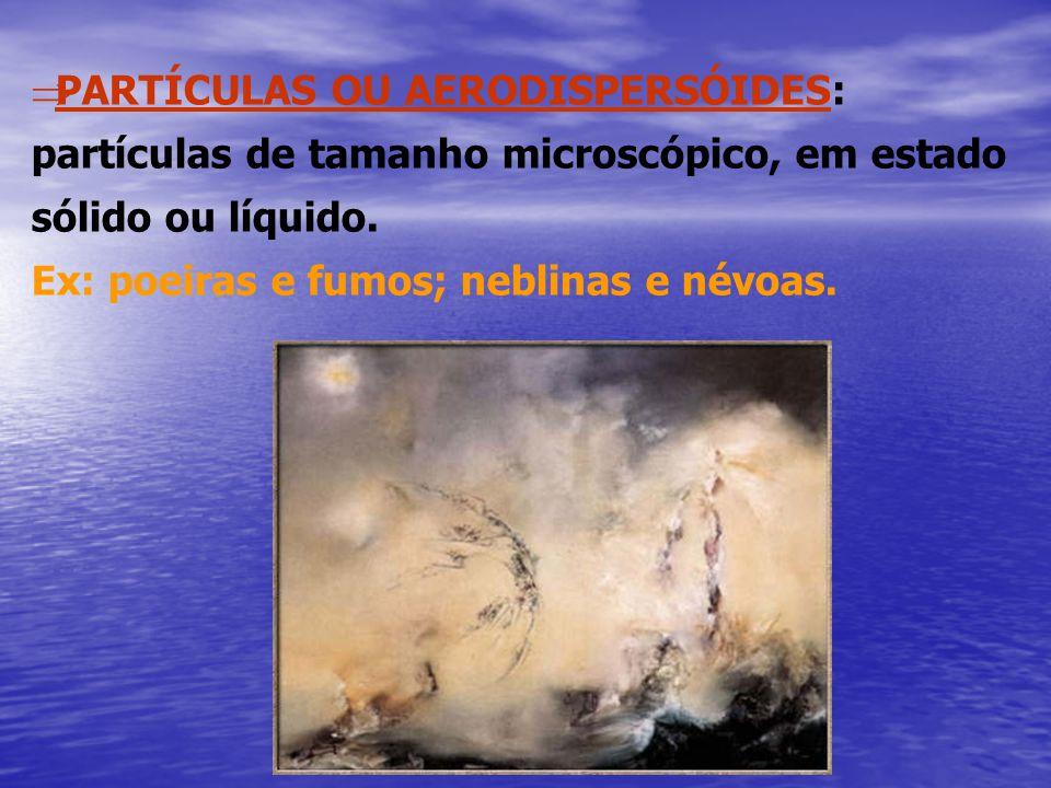  PARTÍCULAS OU AERODISPERSÓIDES: partículas de tamanho microscópico, em estado sólido ou líquido. Ex: poeiras e fumos; neblinas e névoas.