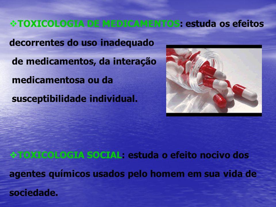 Toxicidade parâmetros utilizados: A DL50 (dose necessária para matar 50% da população estudada) Classificação segundo HODGES & HAGGARD Classe Categoria de Toxicidade Provável DL oral/ humanos 1- Praticamente não-tóxica > 16 g/Kg 2 - Ligeiramente tóxica 5-15 g/Kg 3 - Moderadamente tóxica 0,5-5 g/Kg 4 - Muito tóxica 50-500 mg/Kg 5 - Extremamente tóxica 5-50 mg/Kg 6 - Super tóxica < 5 mg/Kg
