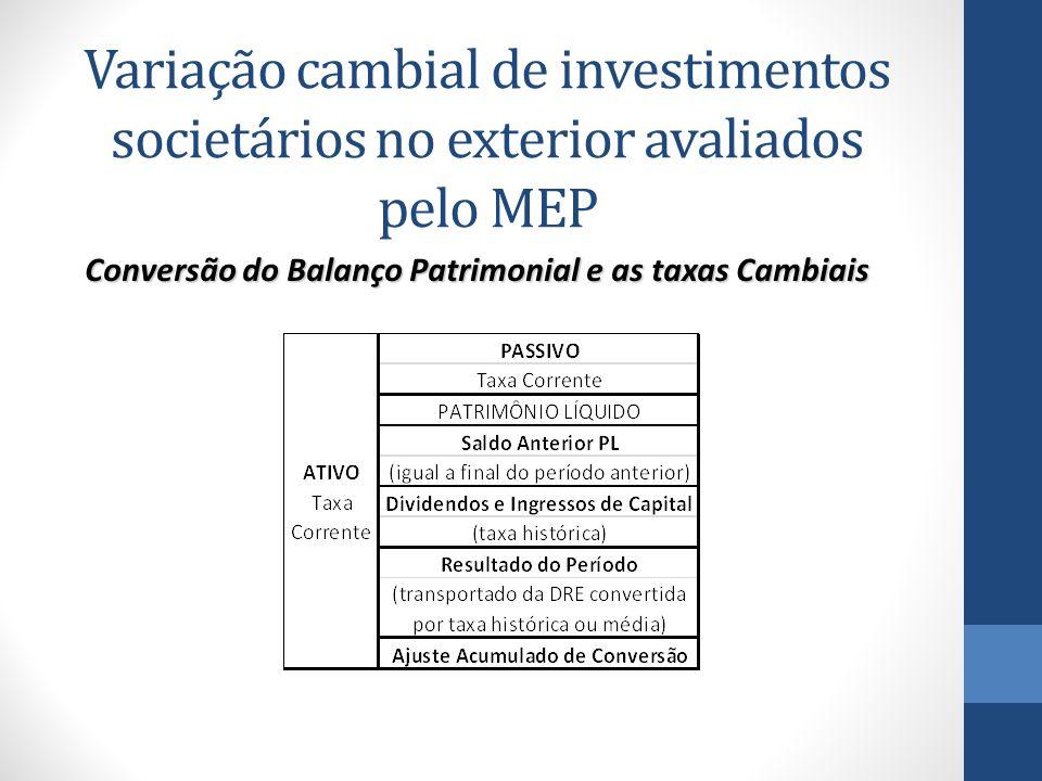 Variação cambial de investimentos societários no exterior avaliados pelo MEP Conversão do Balanço Patrimonial e as taxas Cambiais