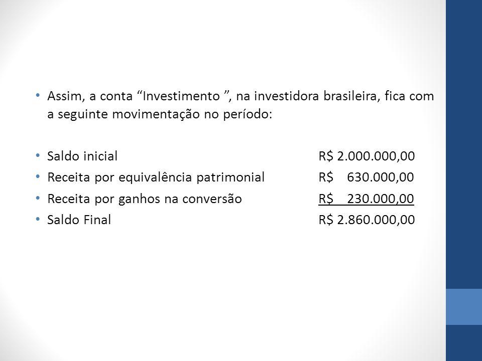 Assim, a conta Investimento , na investidora brasileira, fica com a seguinte movimentação no período: Saldo inicialR$ 2.000.000,00 Receita por equivalência patrimonialR$ 630.000,00 Receita por ganhos na conversãoR$ 230.000,00 Saldo FinalR$ 2.860.000,00