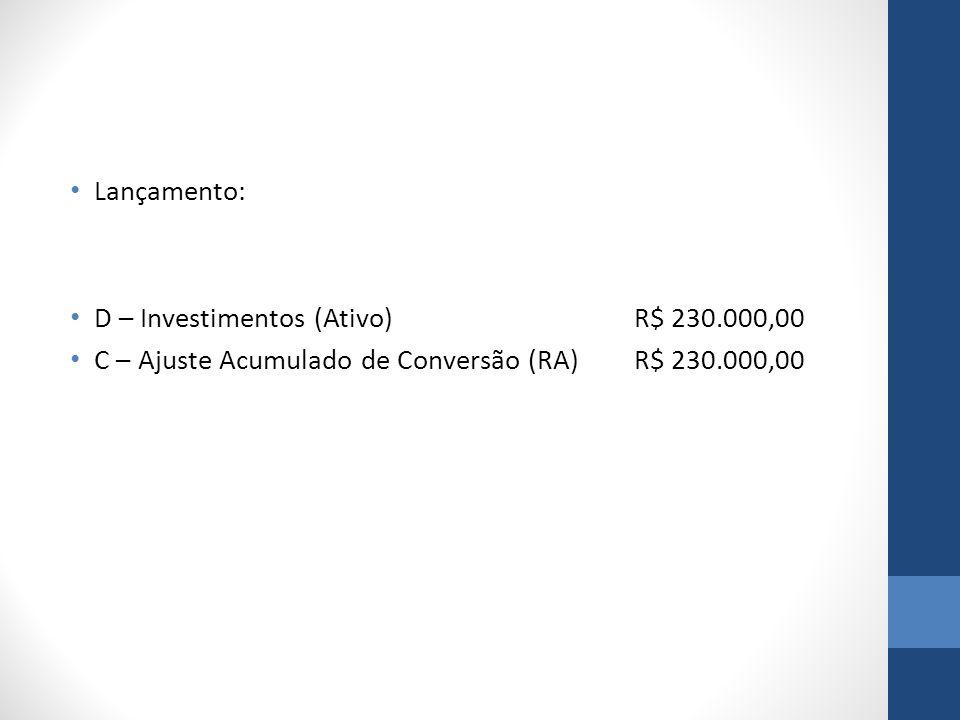 Lançamento: D – Investimentos (Ativo)R$ 230.000,00 C – Ajuste Acumulado de Conversão (RA)R$ 230.000,00