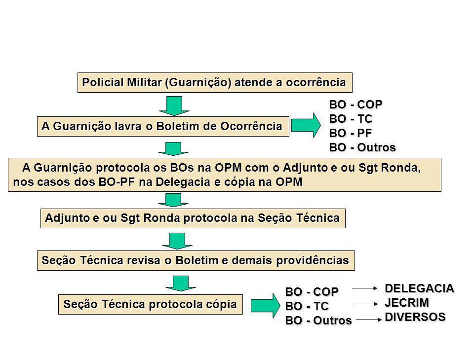 Policial Militar (Guarnição) atende a ocorrência A Guarnição lavra o Boletim de Ocorrência BO - COP BO - TC BO - PF BO - Outros A Guarnição protocola