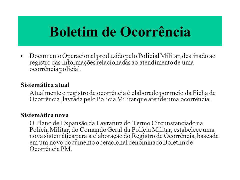 Boletim de Ocorrência Documento Operacional produzido pelo Policial Militar, destinado ao registro das informações relacionadas ao atendimento de uma