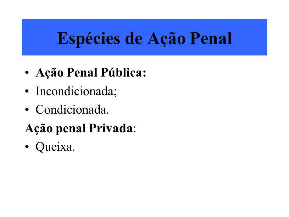 Espécies de Ação Penal Ação Penal Pública: Incondicionada; Condicionada. Ação penal Privada: Queixa.