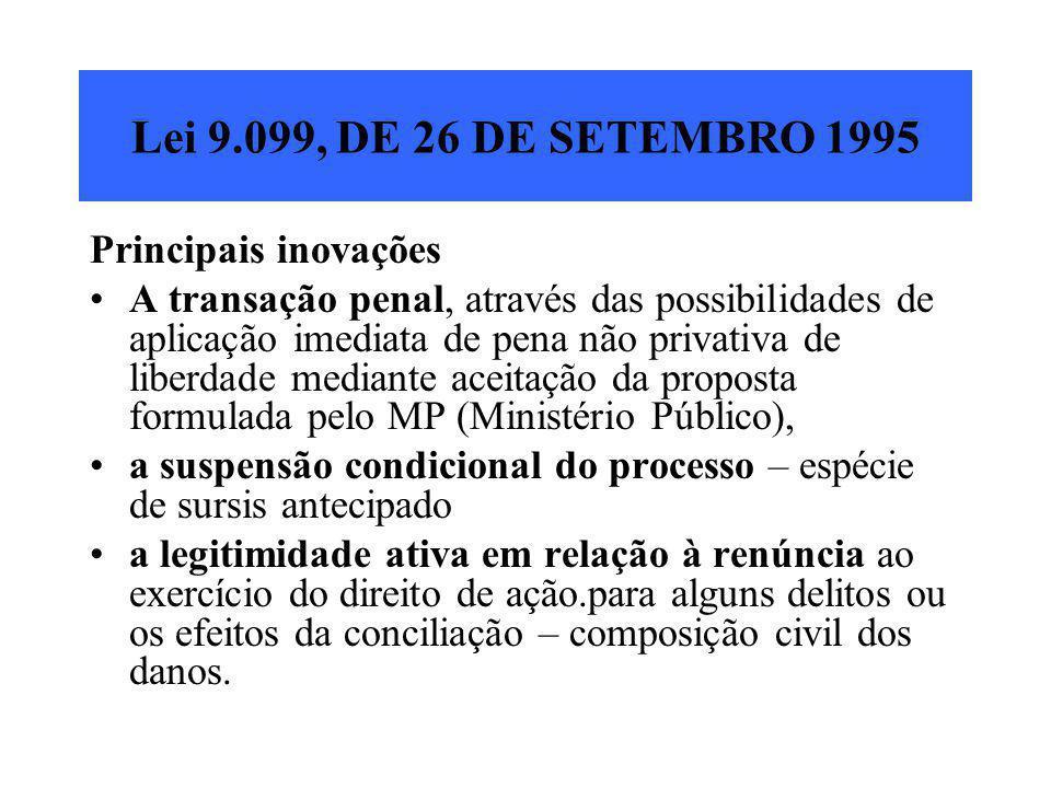 Lei 9.099, DE 26 DE SETEMBRO 1995 Principais inovações A transação penal, através das possibilidades de aplicação imediata de pena não privativa de li