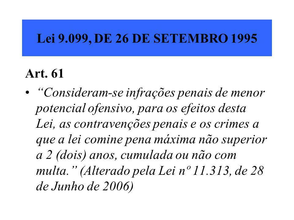"""Lei 9.099, DE 26 DE SETEMBRO 1995 Art. 61 """"Consideram-se infrações penais de menor potencial ofensivo, para os efeitos desta Lei, as contravenções pen"""