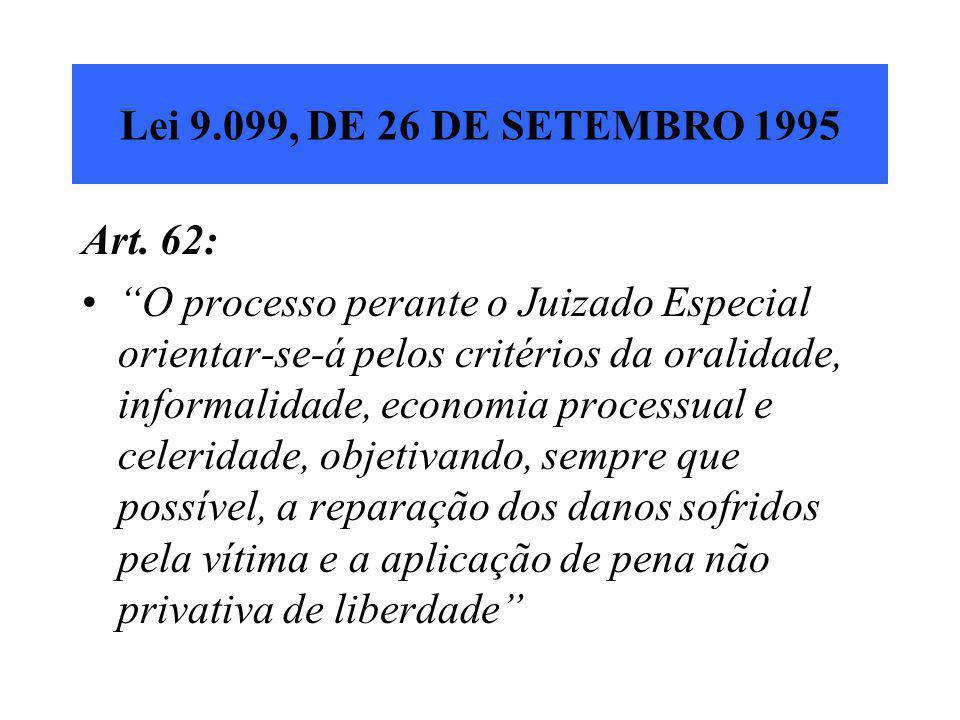 """Lei 9.099, DE 26 DE SETEMBRO 1995 Art. 62: """"O processo perante o Juizado Especial orientar-se-á pelos critérios da oralidade, informalidade, economia"""
