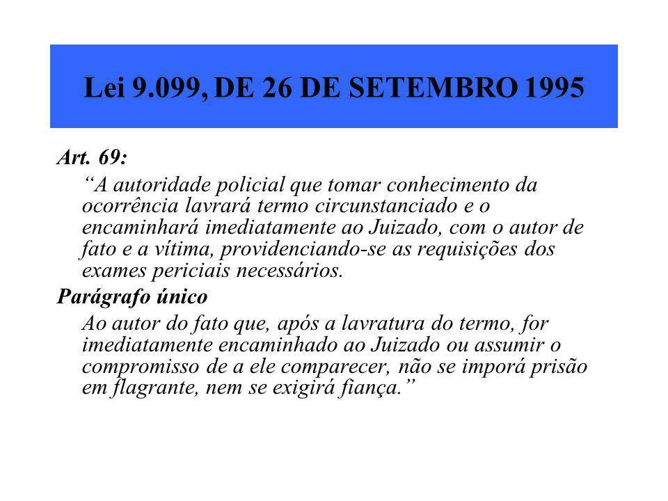 """Lei 9.099, DE 26 DE SETEMBRO 1995 Art. 69: """"A autoridade policial que tomar conhecimento da ocorrência lavrará termo circunstanciado e o encaminhará i"""