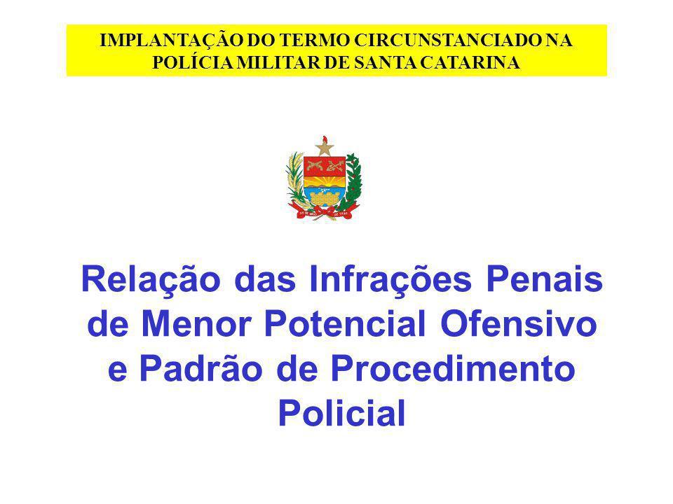 Relação das Infrações Penais de Menor Potencial Ofensivo e Padrão de Procedimento Policial IMPLANTAÇÃO DO TERMO CIRCUNSTANCIADO NA POLÍCIA MILITAR DE
