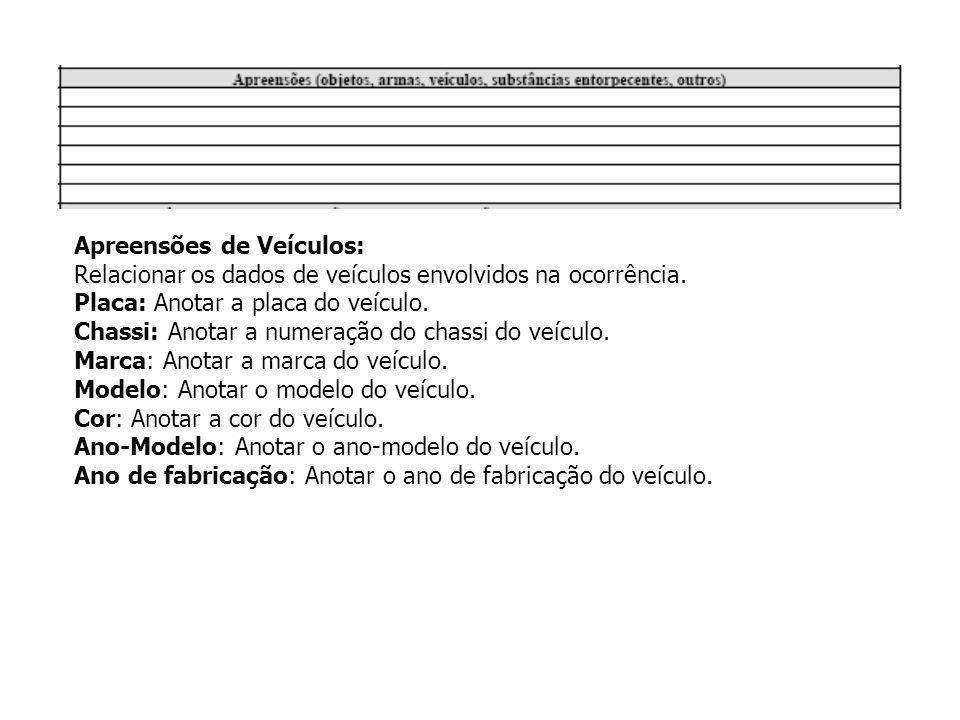 Apreensões de Veículos: Relacionar os dados de veículos envolvidos na ocorrência. Placa: Anotar a placa do veículo. Chassi: Anotar a numeração do chas