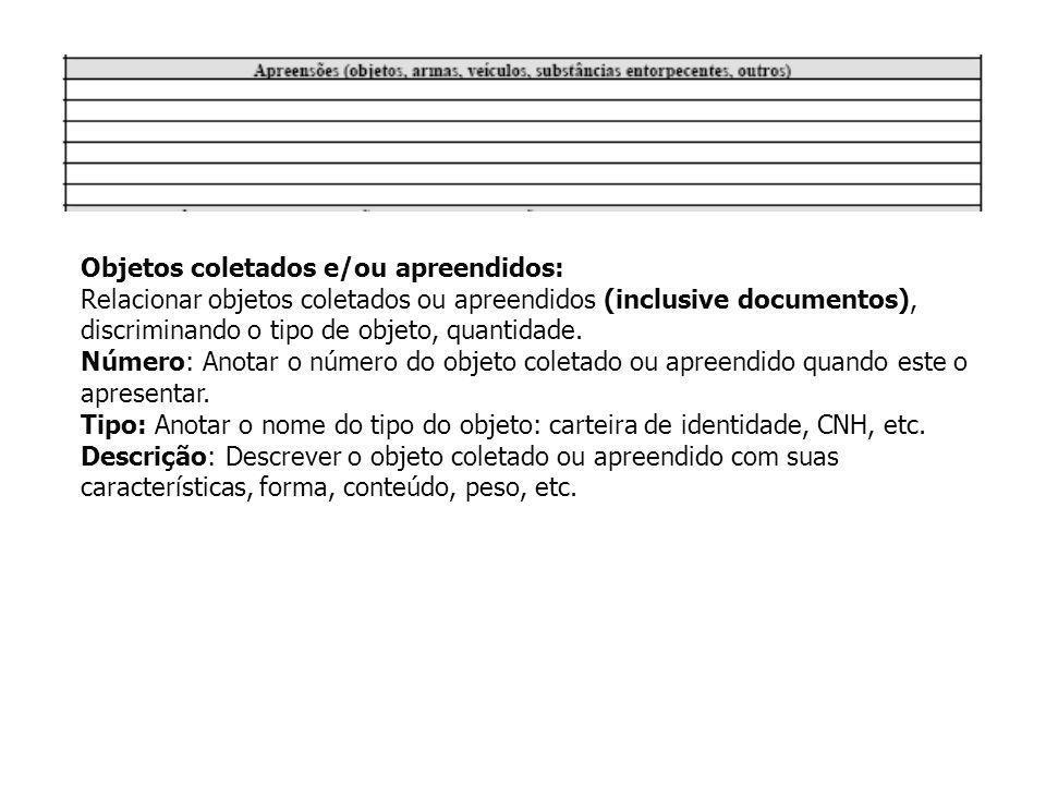 Objetos coletados e/ou apreendidos: Relacionar objetos coletados ou apreendidos (inclusive documentos), discriminando o tipo de objeto, quantidade. Nú