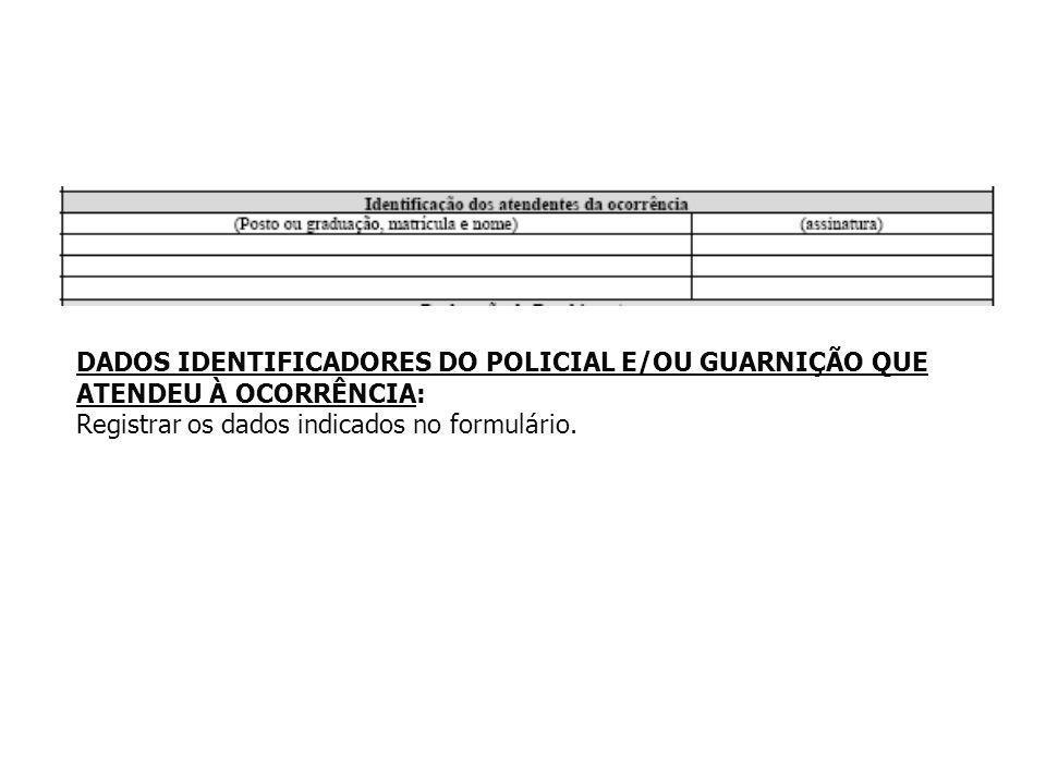 DADOS IDENTIFICADORES DO POLICIAL E/OU GUARNIÇÃO QUE ATENDEU À OCORRÊNCIA: Registrar os dados indicados no formulário.