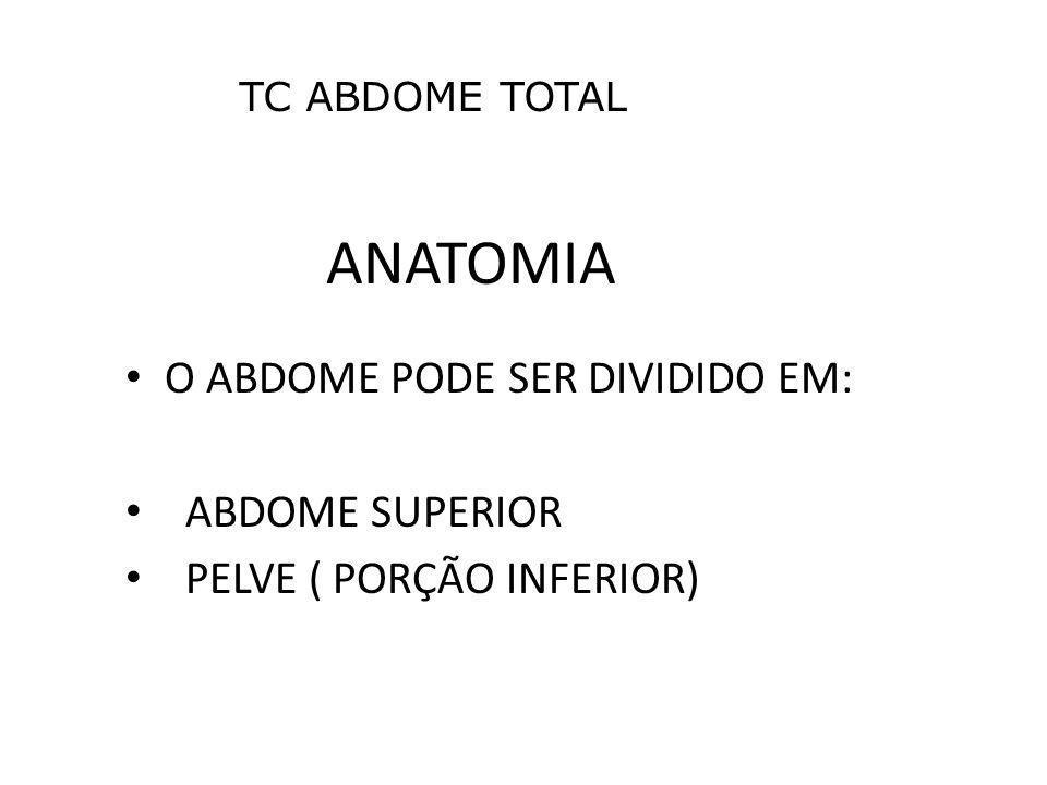 ANATOMIA O ABDOME PODE SER DIVIDIDO EM: ABDOME SUPERIOR PELVE ( PORÇÃO INFERIOR) TC ABDOME TOTAL