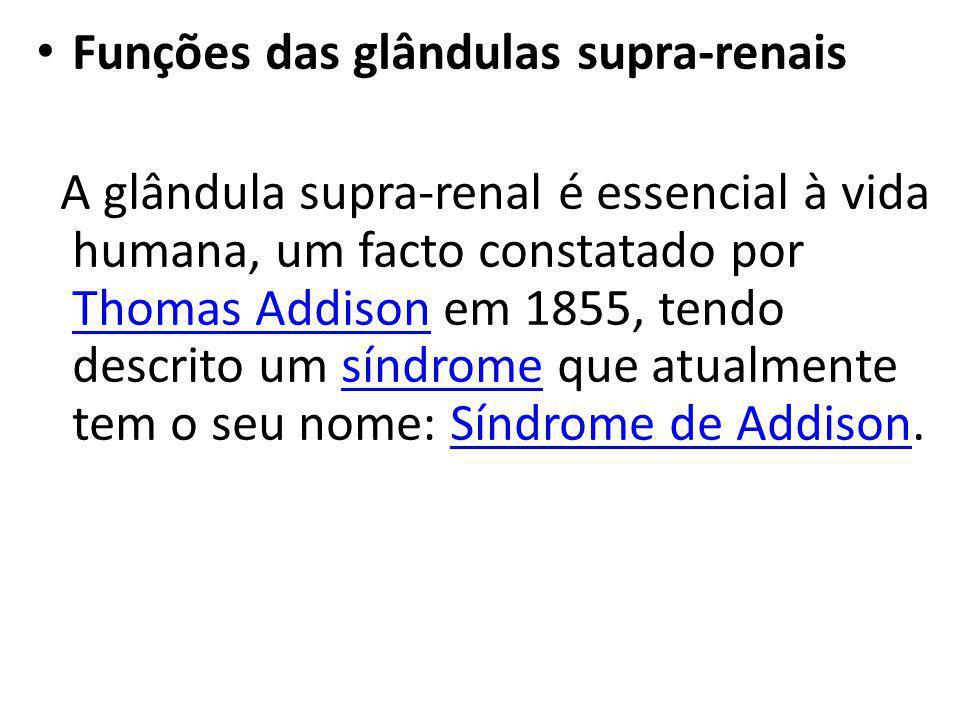 Funções das glândulas supra-renais A glândula supra-renal é essencial à vida humana, um facto constatado por Thomas Addison em 1855, tendo descrito um
