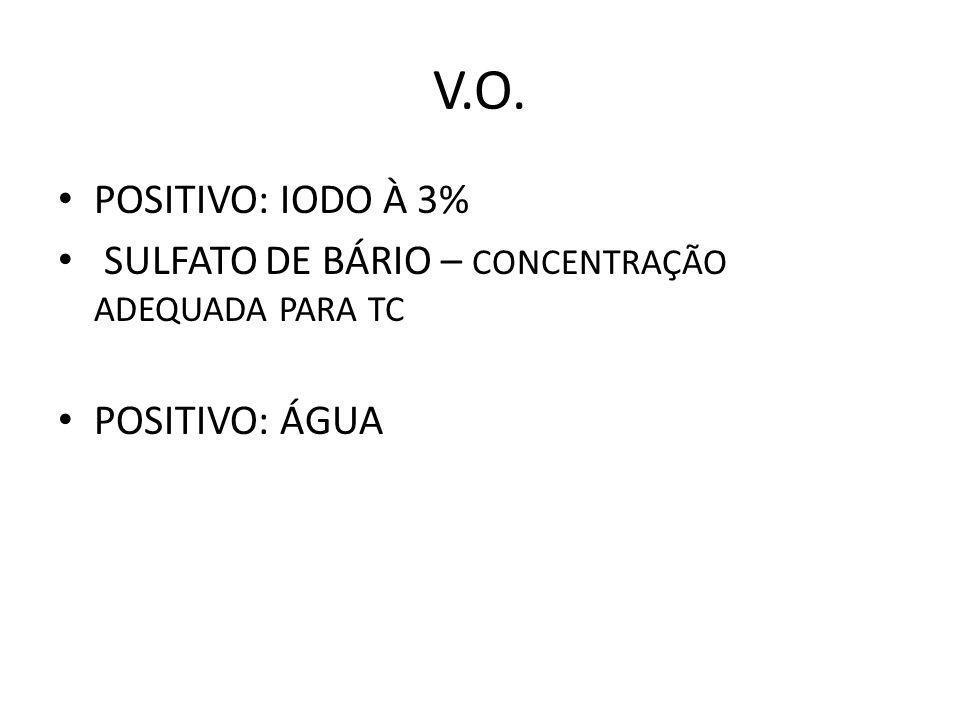V.O. POSITIVO: IODO À 3% SULFATO DE BÁRIO – CONCENTRAÇÃO ADEQUADA PARA TC POSITIVO: ÁGUA