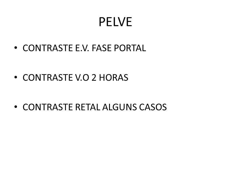 PELVE CONTRASTE E.V. FASE PORTAL CONTRASTE V.O 2 HORAS CONTRASTE RETAL ALGUNS CASOS