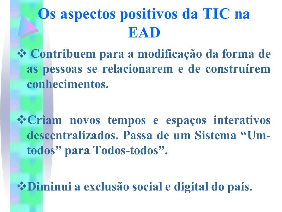 Os aspectos positivos da TIC na EAD  Contribuem para a modificação da forma de as pessoas se relacionarem e de construírem conhecimentos.  Criam nov
