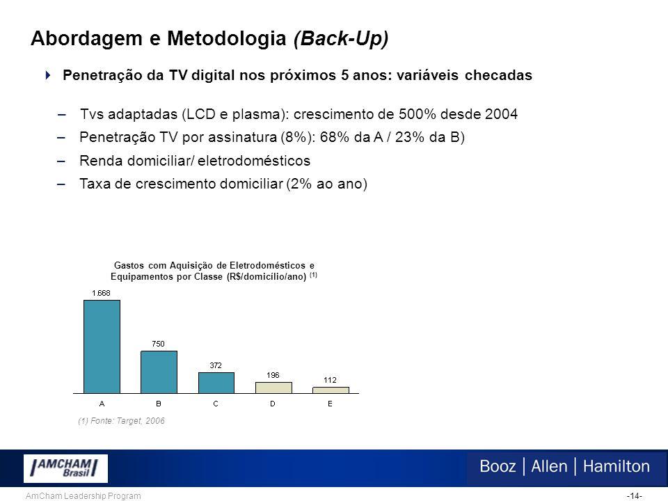 -14-AmCham Leadership Program Abordagem e Metodologia (Back-Up)  Penetração da TV digital nos próximos 5 anos: variáveis checadas –Tvs adaptadas (LCD e plasma): crescimento de 500% desde 2004 –Penetração TV por assinatura (8%): 68% da A / 23% da B) –Renda domiciliar/ eletrodomésticos –Taxa de crescimento domiciliar (2% ao ano) Gastos com Aquisição de Eletrodomésticos e Equipamentos por Classe (R$/domicílio/ano) (1) (1) Fonte: Target, 2006