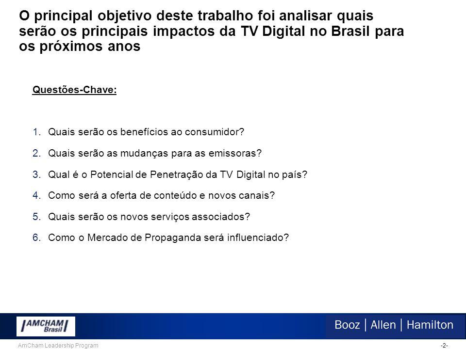 -2-AmCham Leadership Program O principal objetivo deste trabalho foi analisar quais serão os principais impactos da TV Digital no Brasil para os próximos anos Questões-Chave: 1.Quais serão os benefícios ao consumidor.