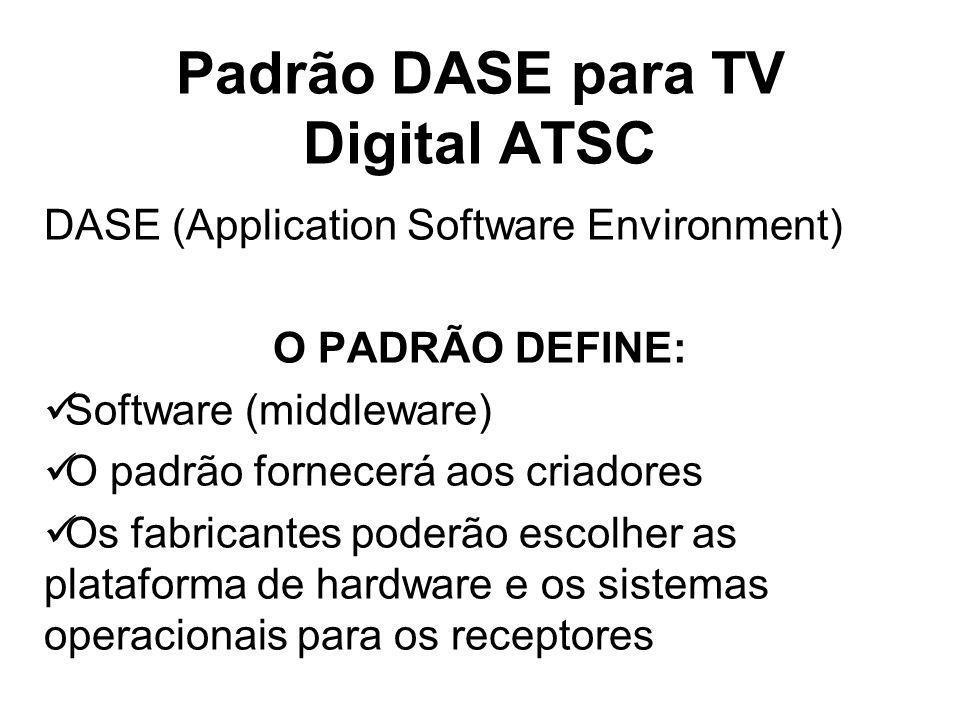 Padrão DASE para TV Digital ATSC DASE (Application Software Environment) O PADRÃO DEFINE: Software (middleware) O padrão fornecerá aos criadores Os fabricantes poderão escolher as plataforma de hardware e os sistemas operacionais para os receptores
