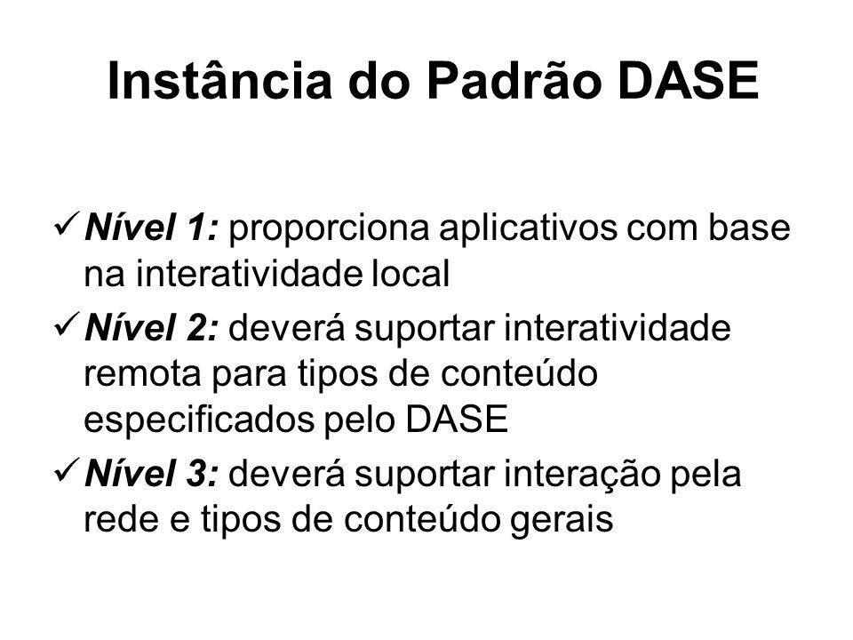 Instância do Padrão DASE Nível 1: proporciona aplicativos com base na interatividade local Nível 2: deverá suportar interatividade remota para tipos de conteúdo especificados pelo DASE Nível 3: deverá suportar interação pela rede e tipos de conteúdo gerais