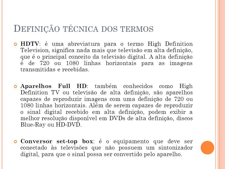 D EFINIÇÃO TÉCNICA DOS TERMOS HDTV : é uma abreviatura para o termo High Definition Television, significa nada mais que televisão em alta definição, q