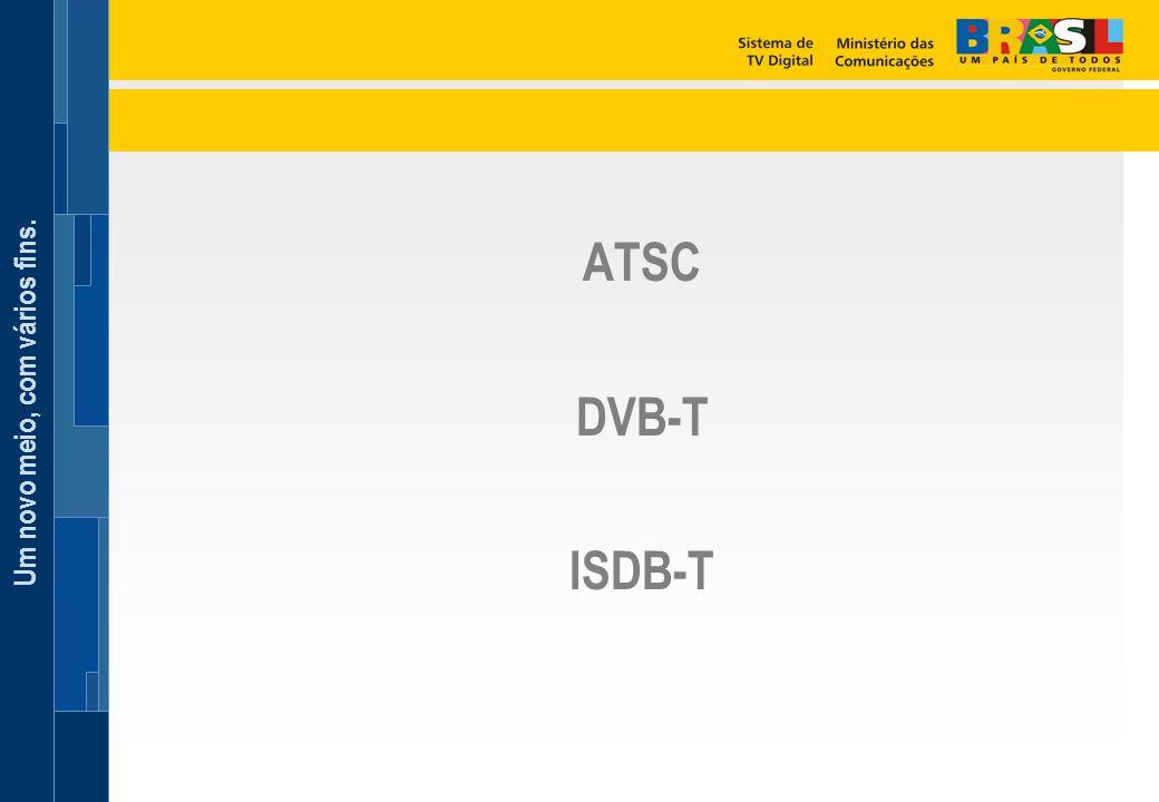 Um novo meio, com vários fins. ATSC DVB-T ISDB-T