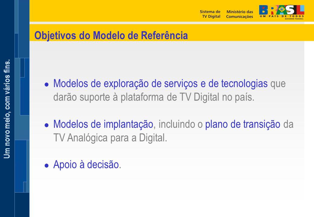 Um novo meio, com vários fins. l Modelos de exploração de serviços e de tecnologias que darão suporte à plataforma de TV Digital no país. l Modelos de